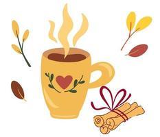 kopje thee met kaneelstokjes herfststemming concept voor het bereiden van een warme drank koffie of cacao met kaneel vectorillustratie in de vlakke stijl vector