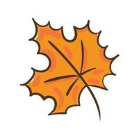 herfst esdoornblad hand tekenen stijlicoon vector