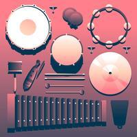 Percussie muziekinstrumenten Knolling