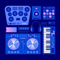 Digitale elektronische muziekinstrumenten Knolling vector