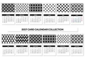 Zwart en wit Mini 2017 kalenderkaarten