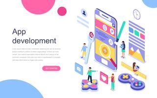 Moderne platte ontwerp isometrische concept van app-ontwikkeling voor banner en website. Bestemmingspaginasjabloon. Mobiele applicatie-, gebruikers- en ontwikkelaarsgroep. Vector illustratie.