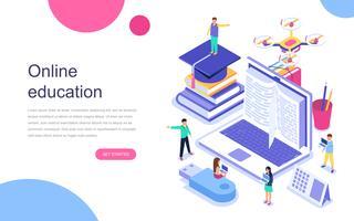 Modern plat ontwerp isometrisch concept van online onderwijs voor banner en website. Bestemmingspaginasjabloon. Afstuderen, e-learning onderzoek, universiteitsonderzoek, terug naar school concept. Vector illustratie.