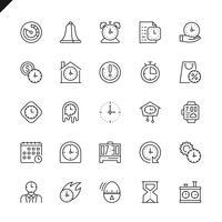 Dunne lijntijdpictogrammen instellen voor website en mobiele site en apps. Overzicht iconen ontwerp. 48x48 Pixel Perfect. Lineair pictogrampakket. Vector illustratie.