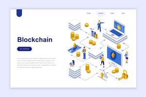 Blockchain moderne platte ontwerp isometrische concept. Cryptocurrency en mensenconcept. Bestemmingspaginasjabloon. Conceptuele isometrische vectorillustratie voor web- en grafisch ontwerp.