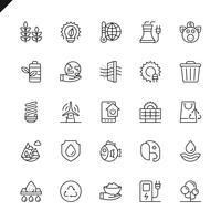 Thin line ecologie pictogrammen instellen voor website en mobiele site en apps. Overzicht iconen ontwerp. 48x48 Pixel Perfect. Lineair pictogrampakket. Vector illustratie.
