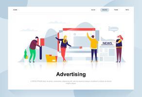 Adverteren en promo modern plat ontwerpconcept. Advertentie en mensen concept. Bestemmingspaginasjabloon. Conceptuele platte vectorillustratie voor webpagina, website en mobiele website.