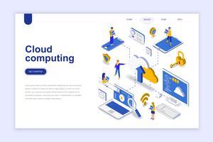 Cloud computing moderne platte ontwerp isometrische concept. Bedrijfstechnologie en mensenconcept. Bestemmingspaginasjabloon. Conceptuele isometrische vectorillustratie voor web- en grafisch ontwerp.