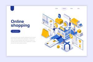 Online winkelen moderne platte ontwerp isometrische concept. Verkoop, consumentisme en mensenconcept. Bestemmingspaginasjabloon. Conceptuele isometrische vectorillustratie voor web- en grafisch ontwerp.