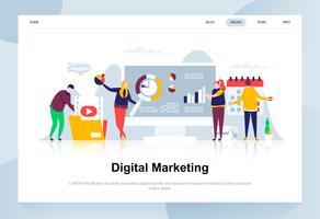 Digitaal marketing moderne platte ontwerpconcept. Reclame en mensen concept. Bestemmingspaginasjabloon. Conceptuele platte vectorillustratie voor webpagina, website en mobiele website.