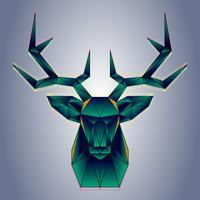 Gestileerde veelhoekige herten hoofd vector geometrische illustratie