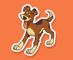 Kat en hond Stickers vector