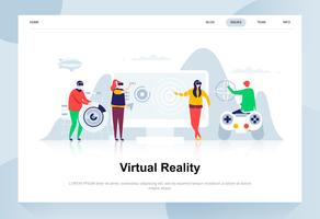 Virtuele augmented reality-bril moderne platte ontwerpconcept. Onderhoudend en mensenconcept. Bestemmingspaginasjabloon. Conceptuele platte vectorillustratie voor webpagina, website en mobiele website. vector