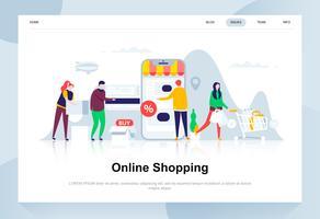 Online winkelen moderne platte ontwerpconcept. Verkoop, consumentisme en mensenconcept. Bestemmingspaginasjabloon. Conceptuele platte vectorillustratie voor webpagina, website en mobiele website.