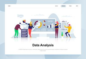 Gegevens analyse moderne platte ontwerpconcept. Analytics en mensenconcept. Bestemmingspaginasjabloon. Conceptuele platte vectorillustratie voor webpagina, website en mobiele website. vector