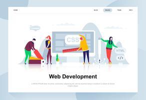 Webontwikkeling moderne platte ontwerpconcept. Ontwikkelaar en mensenconcept. Bestemmingspaginasjabloon. Conceptuele platte vectorillustratie voor webpagina, website en mobiele website. vector