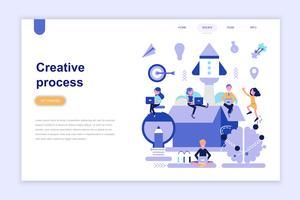 Landingspagina sjabloon van creatief proces moderne platte ontwerpconcept. Leren en mensen concept. Conceptuele platte vectorillustratie voor webpagina, website en mobiele website. vector