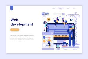 Bestemmingspagina sjabloon van webontwikkeling moderne platte ontwerpconcept. Leren en mensen concept. Conceptuele platte vectorillustratie voor webpagina, website en mobiele website. vector