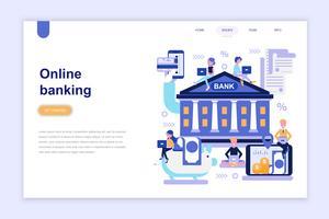 Landingspagina sjabloon van online bankieren moderne platte ontwerpconcept. Leren en mensen concept. Conceptuele platte vectorillustratie voor webpagina, website en mobiele website.