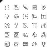 Dunne lijn meten, meten elementen pictogrammen instellen voor website en mobiele site en apps. Overzicht iconen ontwerp. 48x48 Pixel Perfect. Lineair pictogrampakket. Vector illustratie.