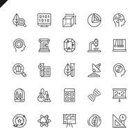 Dunne lijnwetenschap, wetenschappelijke activityelements-pictogrammen die voor website en mobiele plaats en apps worden geplaatst. Overzicht iconen ontwerp. 48x48 Pixel Perfect. Lineair pictogrampakket. Vector illustratie.