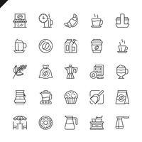 Dunne lijn koffie, koffiehuis, coffeeshop elementen pictogrammen instellen voor website en mobiele site en apps. Overzicht iconen ontwerp. 48x48 Pixel Perfect. Lineair pictogrampakket. Vector illustratie.