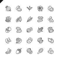 Dunne lijn noten, zaden en bonen elementen pictogrammen instellen voor website en mobiele site en apps. Overzicht iconen ontwerp. 48x48 Pixel Perfect. Lineair pictogrampakket. Vector illustratie.