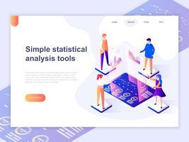Bestemmingspaginasjabloon van grafieken en het analyseren van het concept van de de gegevensvisualisatie van statistieken. 3D isometrische concept van webpagina ontwerp voor website en mobiele website. Vector illustratie.