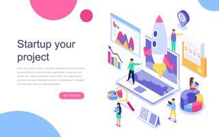 Modern vlak ontwerp isometrisch concept Start Uw project voor banner en website. Bestemmingspaginasjabloon. Plan voor nieuwe startup, concept van inkomen en succes. Vector illustratie.