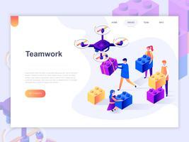 Bestemmingspaginasjabloon voor bedrijfs-, werkstroombeheer- en kantoorsituaties. 3D isometrische concept van webpagina ontwerp voor website en mobiele website. Vector illustratie.