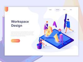 Sjabloon voor bestemmingspagina's van open werkruimte en samenwerking. 3D isometrische concept van webpagina ontwerp voor website en mobiele website. Vector illustratie.