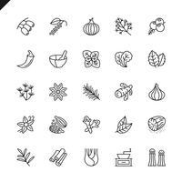 Dunne lijnkruiden, specerijen en kruidenpictogrammen die voor website en mobiele plaats en apps worden geplaatst. Overzicht iconen ontwerp. 48x48 Pixel Perfect. Lineair pictogrampakket. Vector illustratie.