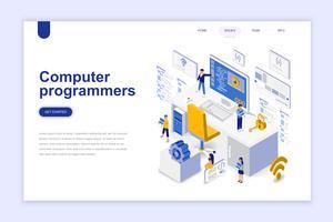 Computer programmeurs moderne platte ontwerp isometrische concept. Softwareontwikkeling en mensenconcept. Bestemmingspaginasjabloon. Conceptuele isometrische vectorillustratie voor web- en grafisch ontwerp.