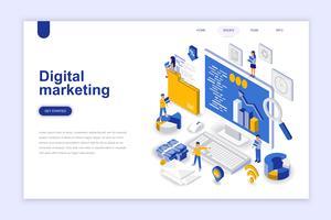 Digitale marketing moderne platte ontwerp isometrische concept. Reclame en mensen concept. Bestemmingspaginasjabloon. Conceptuele isometrische vectorillustratie voor web- en grafisch ontwerp.