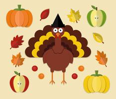 Thanksgiving Element Papercraft-stijl vector