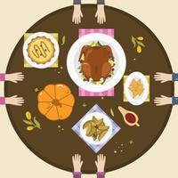 Thanksgiving voedsel tabel bovenaanzicht Vector