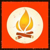 Grunge Fire-symbool vector