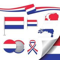 nederlandse vlag met elementen vector