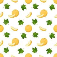 naadloos patroon met meloenen, krullen en bladeren. leuke zomerse print met hele en halve vruchten. feestelijke decoratie voor textiel, inpakpapier en design vector