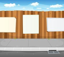 Lege borden op stedelijke houten hek vector