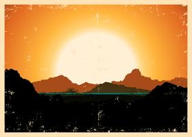 Grunge bergen landschap Poster