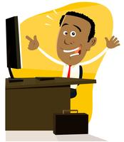 Cartoon zwarte zakenman vector