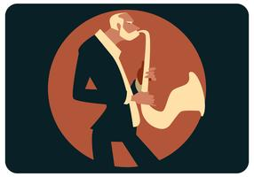 Oude saxofonist Vector