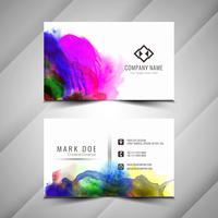 Het ontwerptempla van het abstracte kleurrijke waterverf elegante adreskaartje