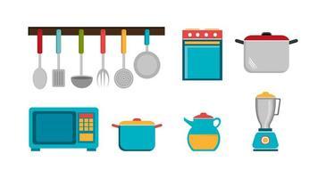 set bestek met pot en pictogrammen vector