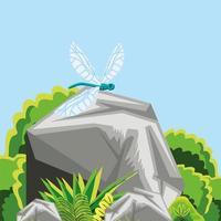 bomen, libellen en struiken vector