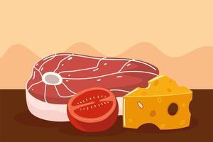 vlees, tomaat en kaas vector