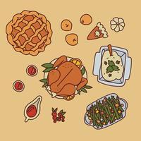 Doodled Thanksgiving-tafel vector