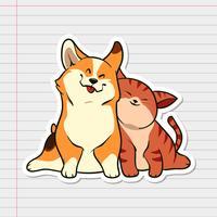 Leuke glimlach Kat en hond Stickers vector