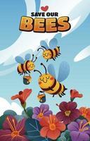 drie bijen oogsten honing van bloemen in de tuin vector